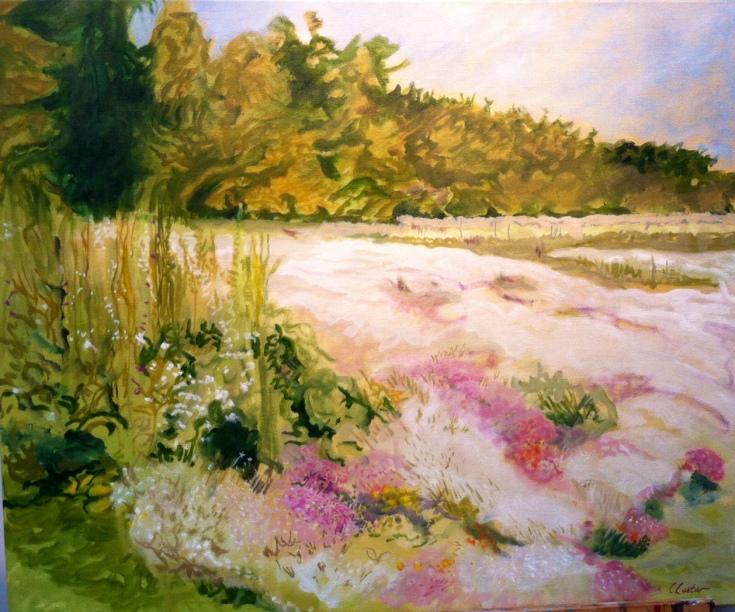La prairie blanche, huile, 2016, 65 x 54