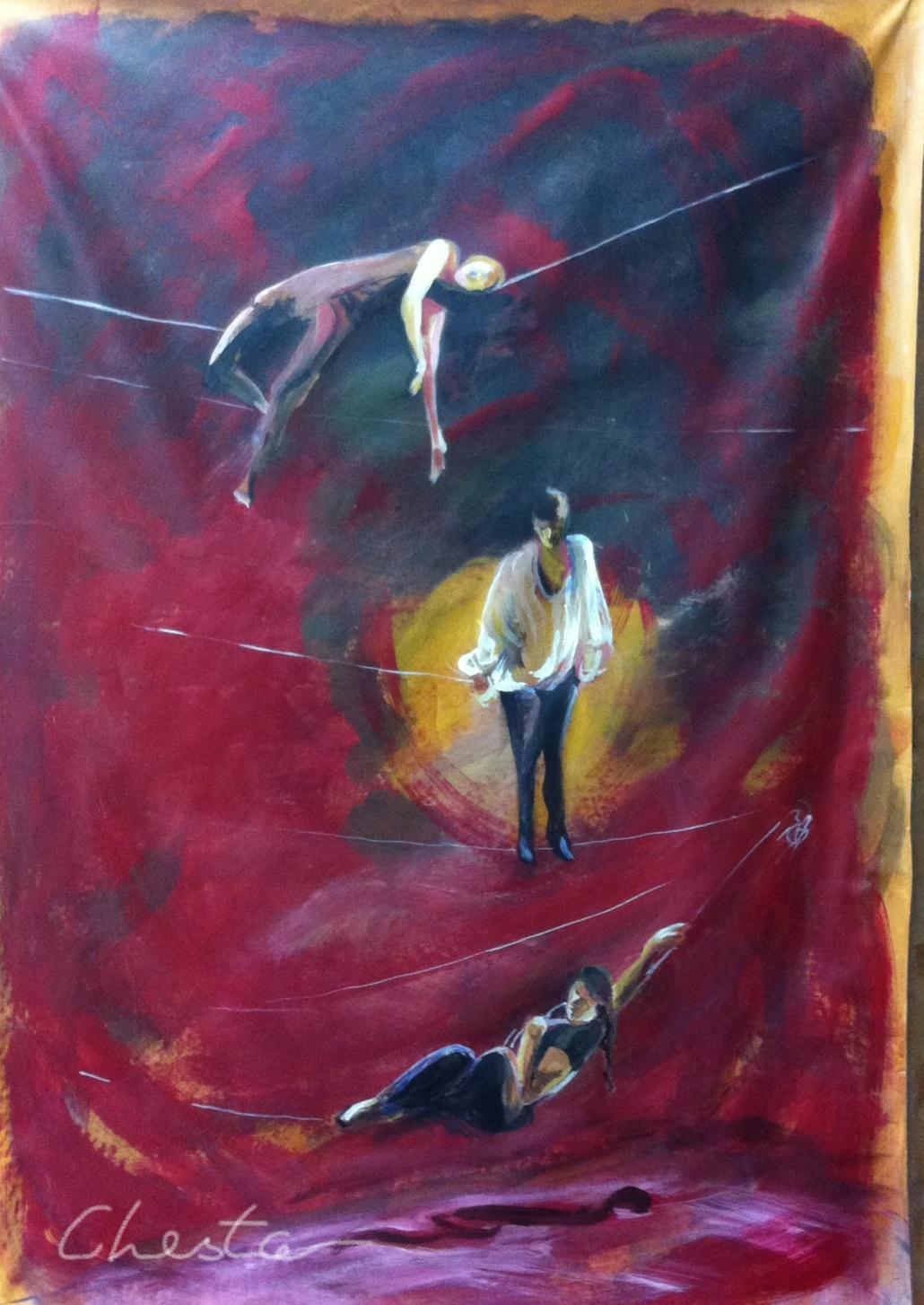 Inkedfunambules sur fond rouge Chesta 2016, huile sur toile_LI