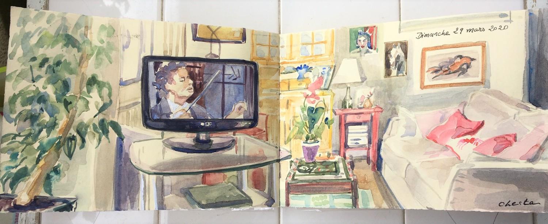 Extrait cahier du confinement aquarelle livre art