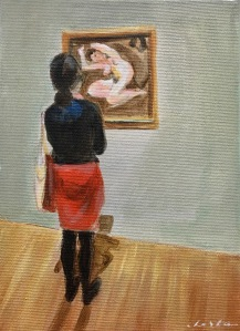 Face au nu de Lucian Freud, 22 x 16 A/T