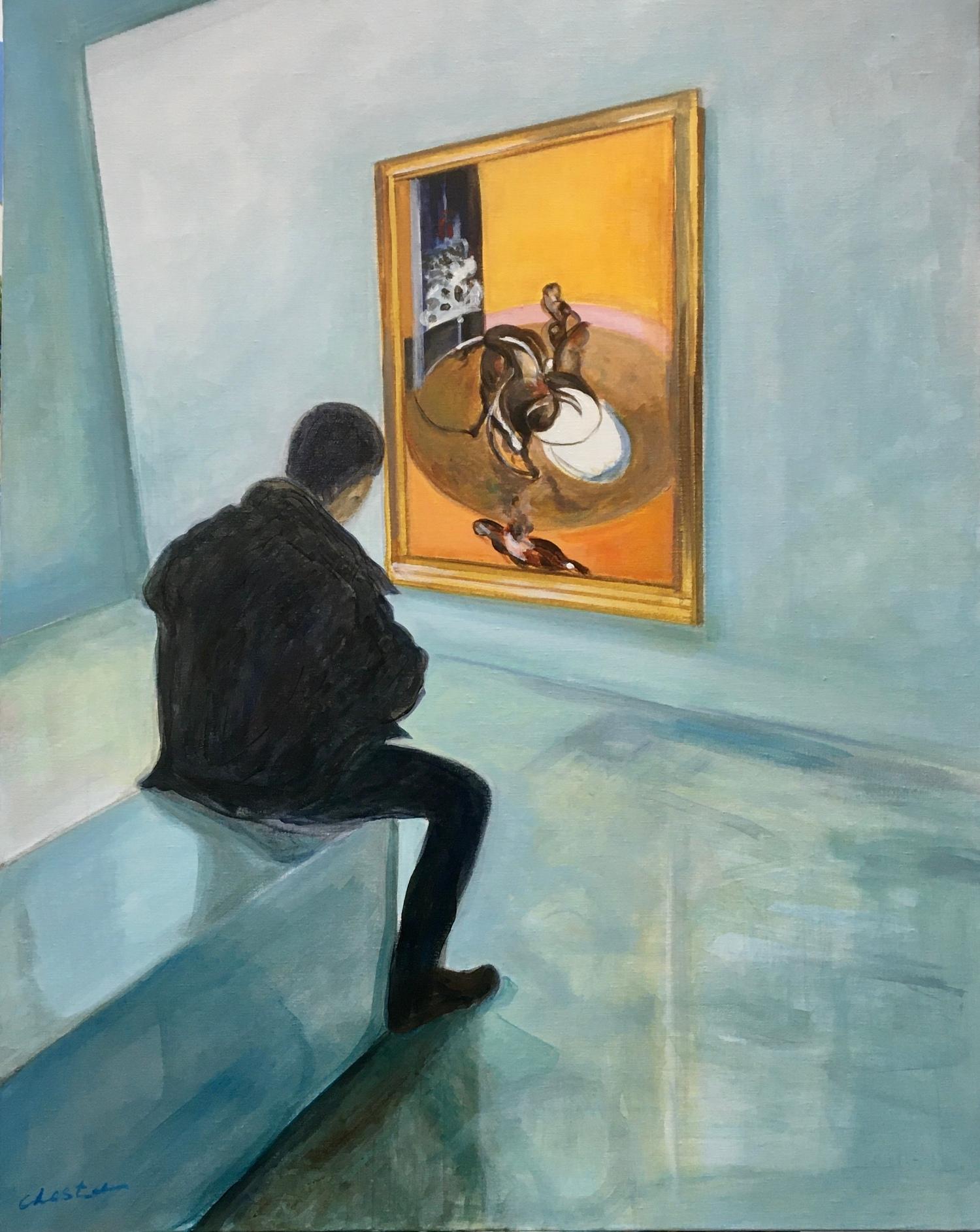 Médusé acrylique sur toile 92×73 cm, 2020 Jacqueline Chesta peinture